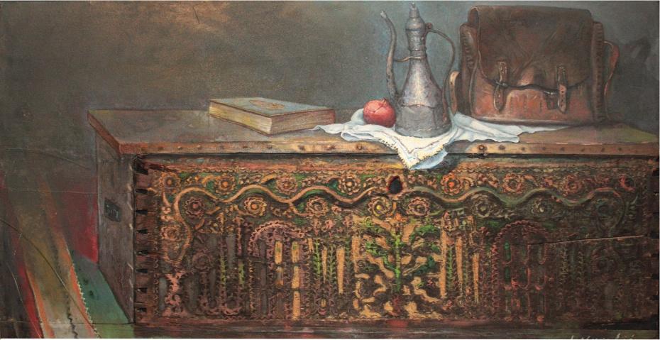 Lice stare sehare ukomponovano u sliku. Slikar Ibrahim Novalić, ulje na platnu130x67cm