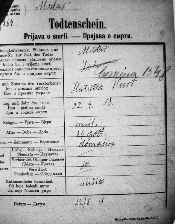 Prijava smrti Hatidže Kurt 22. april 1918.