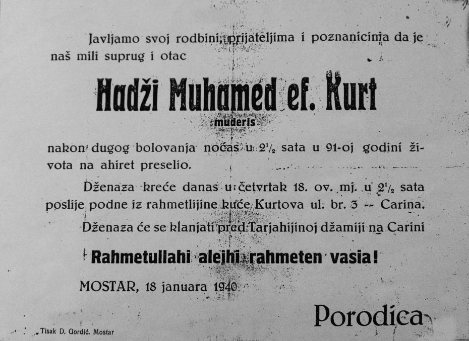 Smrtovnica hadžije Muhameda Kurta