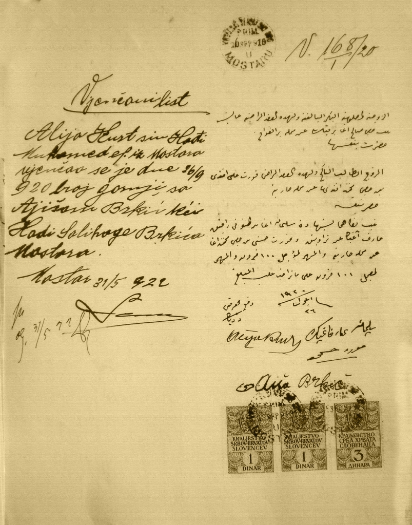 Vjenčani list Alije Kurt i Aiše Brkić od 26. septembra 1920.