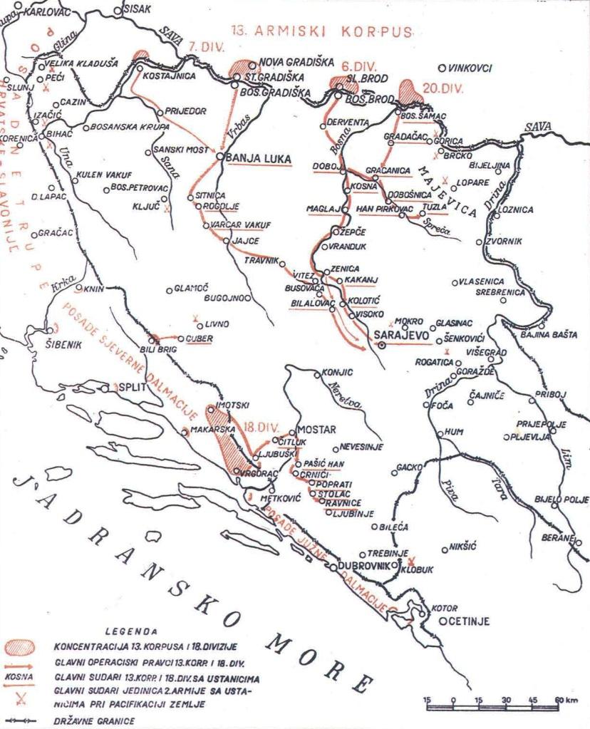 Karta okupacije Bosne i Hercegovine 1878.