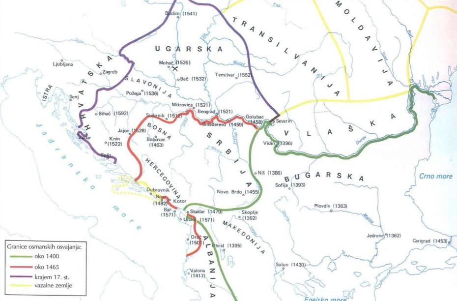 Karta osvajanja Balkana od strane Osmanskog carstva