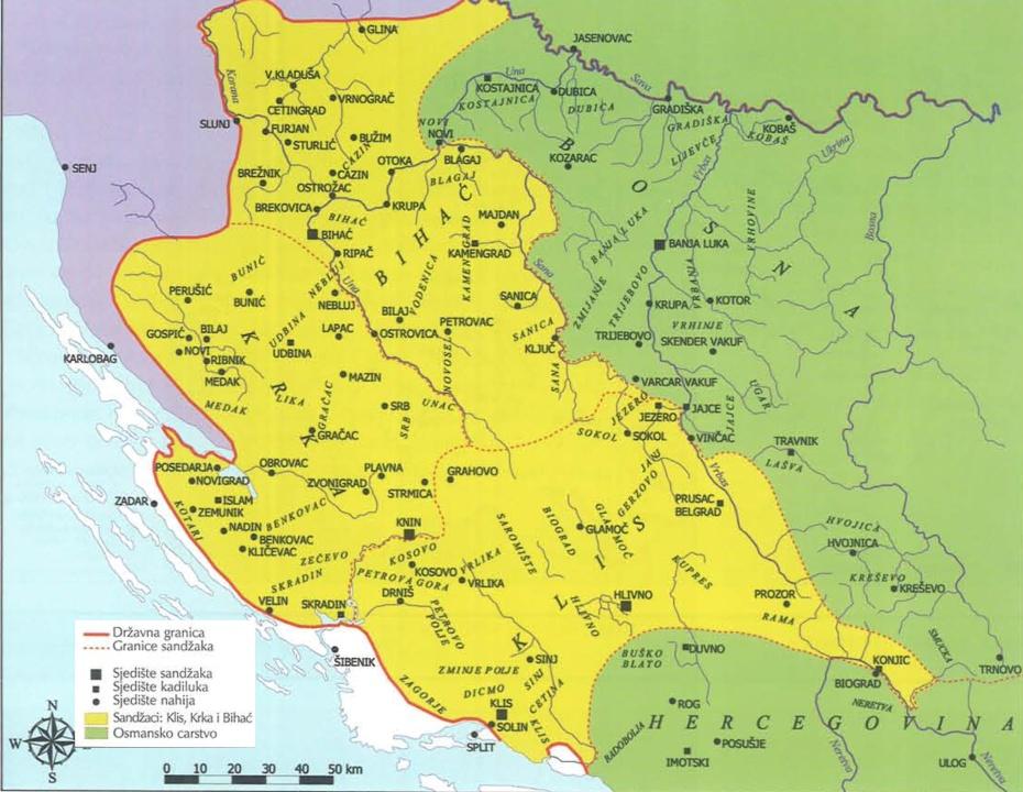 Karta sandžaka Klis, Krka i Bihać u Bosanskom ejaletu 1606.